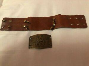 "Lenny & Eva Wide Cuff Bracelet with ""Love Never Fails"" Sentiment, EUC"