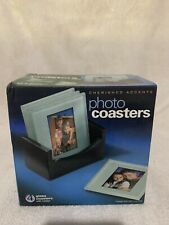 New listing New in box 4 cherished accents photo coasters w/ wood holder. originial box 2'x3