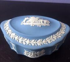Wedgewood Jasperware blue covered scalloped oval dish Rare!