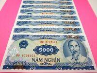 Vietnam Paper Money 10 PCS Set 5000 Vietnamese Dong Each Viet Nam Currency