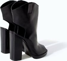 ZARA WOMAN BLACK LEATHER OPEN TOE/HEEL BLOCK HI HEEL BOOT Sz 8USA 39eur NWTs
