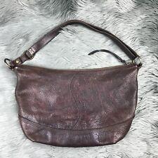 Lucky Brand Handbag Womens Brown Genuine Pebbled Leather Cross Body Hobo Purse