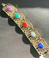 """VINTAGE SIGNED  Sarah Coventry Gold Link Multi Color Bracelet 7 1/4"""" Long Nice !"""