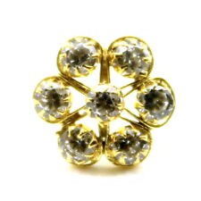 Real Gold Nose stud 14K Ethnic Floral White Cz Indian nose ring Push Pin Mothers