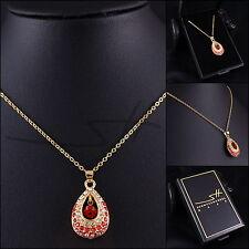 Geschenk Kette Halskette *Tropfen*, Gelbgold pl., Swarovski Elements, inkl. Etui