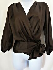 TALBOTS Brown 100% Silk Wrap Top Blouse Womens Size 2