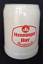 Vintage Beer Mug Bier Stein Henninger Brewery Frankfurt Germany 0.5 litres HB