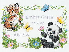 Cross Stitch Kit ~ Dimensions Baby Animals Birth Record Announcement #73065