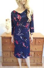Viscose Cowl Neck Midi Floral Dresses for Women