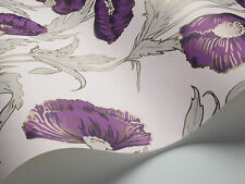 COLE & SON COLLECTION OF FLOWERS POPPY WALLPAPER 81/1002 COLOUR PURPLE/GREY