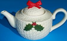 VINTAGE OTAGIRI JAPAN PORCELAIN BASKET WEAVE CHRISTMAS TEA POT
