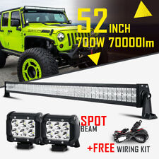 "52INCH / 54"" 700W CREE LED LIGHT BAR SPOT FLOOD COMBO FOR JEEP JK + 2x 4"" 18W"