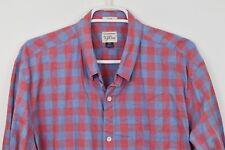 J CREW XL Slim Plaid Cotton Long Sleeve Shirt Button Down Blue Red