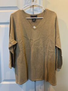 QVC Bradley By Bradley Bayou Gold Metallic V-Neck Silk Sweater 2X NWT