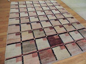 Modern 5x6, 5x7 Rug Tibetan square geometric design oriental area rug Rust Beige