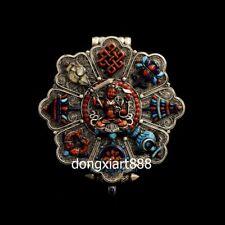 Tibet Silver inlay turquoise eight treasures manjuist niche for Buddha Pendants