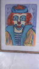 Peinture clown signée. Clown painting signed