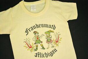 Vintage 70s Frankenmuth Michigan German T Shirt Youth Boys S M Soft Thin Tourist