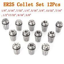 12pcs ER25 Chuck Collet 1/8 to 5/8 Inch Spring Collet Set For CNC Milling Lathe
