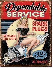 Dependable Service Spark Plugs metal sign 410mm x 320mm (de)