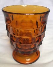 """Vintage Indiana Glass Whitehall Cubist Amber Footed Drinking Glass 4 1/4"""""""