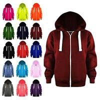 Womens Long Sleeve Zip Plain Colour Hoodie Jacket Ladies Fleece Sweatshirt Top
