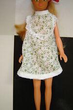 Vintage white green floral dress that fits Barbie Skipper 70s 80s