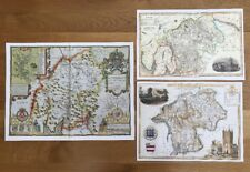3 x Old Antique Colour maps of Westmorland, England: 1600's & 1800's: Reprint