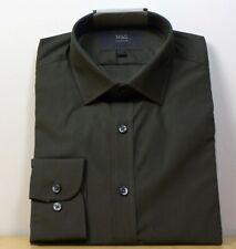 """M&S Cotton Blend REGULAR Fit LONG SLEEVE SHIRT ~ Size 15.5"""" ~ DARK KHAKI"""
