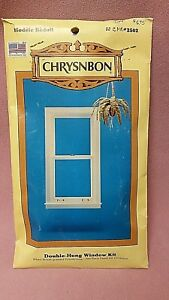 Chrysnbon #2502 Double-Hung Window Kit White Wood-Grained Polystyrene 1:12 Scale