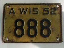 1952 Wisconsin Motorcycle License Plate Low Number 3-Digit 888 Repeating 8's WOW