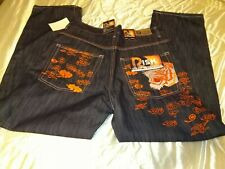 Men's RISK Street Knowledge Tiger Embroidered Jeans ~ Size 38/34 ~ NWT