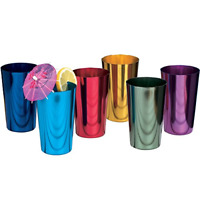 ALUMINUM TUMBLERS Retro Jewel Aluminum Colored Tumblers Cups Set of 6,
