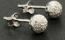 solid Sterling silver sparkly ball stud earrings, new, cubic zirconia, UK seller