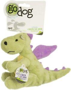 GoDog Chew Guard Technology Tough Plush Lime Dragon Small Dog Toy