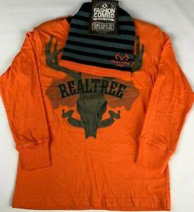 NEW Boys Orange RealTree Long Sleeve T-Shirt and Beanie Winter Hat Set FREE Ship