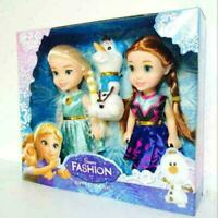 3PCS hotsale-Playset Frozen Princess Elsa-Anna-Olaf Doll Figures Birthday Gift
