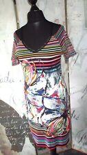 VICCIO BARCELONA: español/Desigual estilo Multi Stripe Vestido Con Forro: tamaño 12