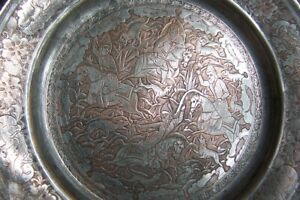 """PERSIAN ANTIQUE Copper (9"""") finely engraved copper / tin plate ! Superb !"""