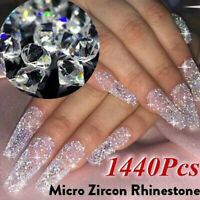 1440pcs Crystal 3D Nail Art Tips Micro Zircon 1.1mm Mini Rhinestones Solid