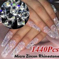 1440pcs Crystal 3D Nail Art Tips Micro Zircon 1.1mm Mini Rhinestones Solid