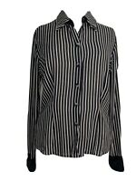 Womens Shirt Blouse  Black & White Striped Sheer Button Front Long Sleeves UK 12