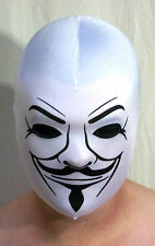 GUY FAWKES MASK ANONYMOUS ONE SIZE ADULT UNISEX WHITE SEXYSADIESPANDEX