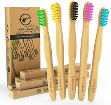 5 Pack of Bamboo Toothbrushes Eco Friendly Biodegradable Set Colourful Bristles