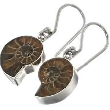 "3/4"" DAINTY AMMONITE FOSSIL FOSSIL 925 STERLING SILVER earrings"