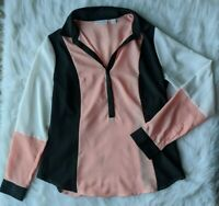 New York And Company Size Small Pink White And Black Long Sleeve Blouse