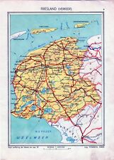 Antique map Friesland traffic verkeer Netherlands 1936