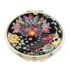 Mother of Pearl Peacock Design Compact Cosmetic Makeup Round Hand Beauty Mirror