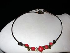 Fossil Brand Red/Orange Stone Cord Necklace