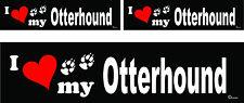 3 I love my Otterhound dog bumper vinyl stickers decals 1 large 2 small